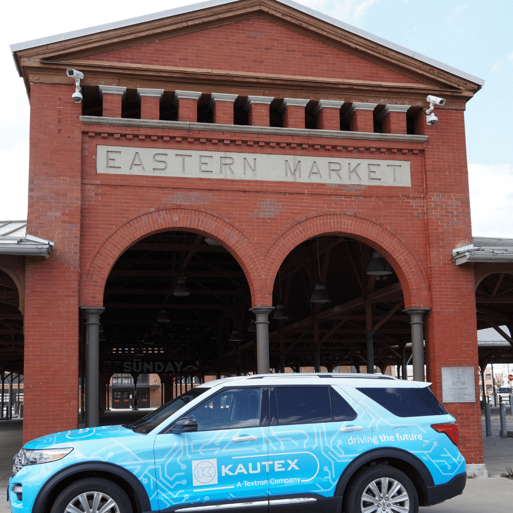 Vehicle in front of Eastern Market (Detroit) open air market